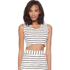 J.O.A. Blue/White Striped Crop Tank Top/Cami